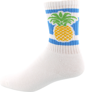SOCCO SOCKS L/XL CREW PINEAPPLE WHITE 1pr