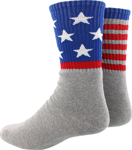 SOCCO SOCKS L/XL CREW STAR SPANGLED MATCH GREY 1pr