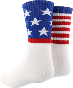 SOCCO SOCKS L/XL CREW STAR SPANGLED MATCH WHT 1pr