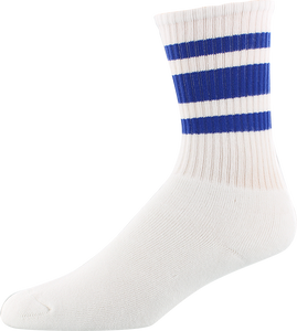 SOCCO SOCKS L/XL CREW STRIPE WHT/ROYAL1pr