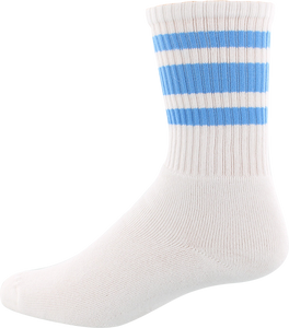 SOCCO SOCKS L/XL CREW STRIPE WHT/CAROLINA BLUE 1pr