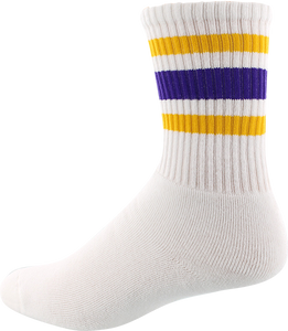 SOCCO SOCKS L/XL CREW STRIPE WHT/GOLD/PURPLE 1pr