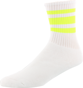 SOCCO SOCKS L/XL CREW STRIPE WHT/SAFETY YELLOW 1pr