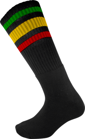 SOCCO SOCKS L/XL KNEE HIGH STRIPE BLK/RASTA 1pr