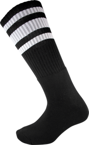 SOCCO KNEE HIGH BLK/WHT SOCKS (9-12)1pair