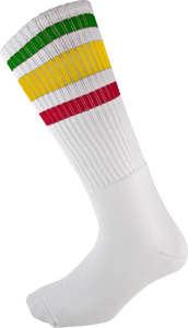 SOCCO KNEE HIGH WHT/RASTA SOCKS (9-12)1pair