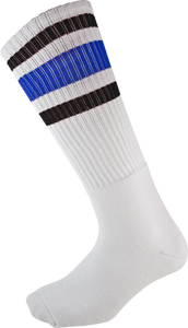 SOCCO KNEE HIGH WHT/BLK/BLU SOCKS (9-12)1pair