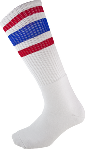 SOCCO SOCKS L/XL KNEE HIGH STRIPE WHT/RED/BLUE 1pr