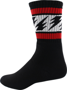SOCCO SOCKS S/M CREW VALLELY BOLTS BLK/RED/WT 1pr