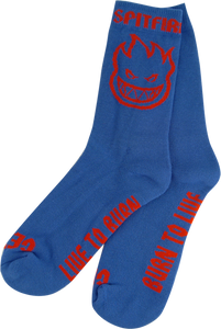 SPITFIRE BIGHEAD OUTLINE CREW SOCKS ROYAL/RED 1 pair