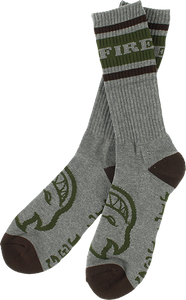 SPITFIRE OG CLASSIC CREW SOCKS HEATHER GREY/BRN/ARMY 1pr