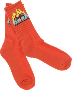 SKATE MENTAL PRIUS FIRE SOCKS ORG single pair