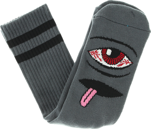TOY MACHINE BLOODSHOT EYE CREW SOCKS-CHARCOAL 1 pair