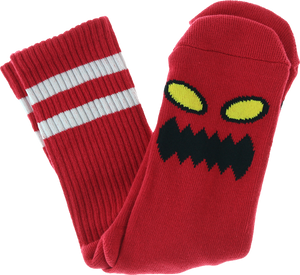 TOY MACHINE MONSTER FACE CREW SOCKS-RED 1 pair