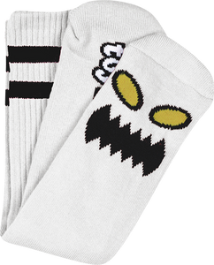 TOY MACHINE MONSTER FACE CREW SOCKS WHITE 1 pair