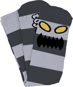 TOY MACHINE MONSTER BIG STRIPE CREW SOCKS GREY 1pr
