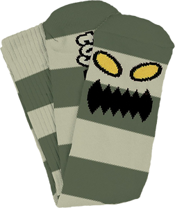 TOY MACHINE MONSTER BIG STRIPE CREW SOCKS GREEN 1pr