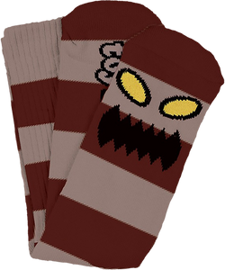 TOY MACHINE MONSTER BIG STRIPE CREW SOCKS BURGUNDY1pr
