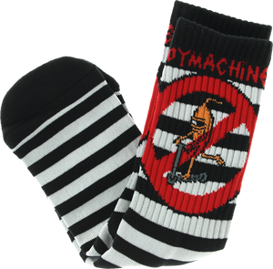 TOY MACHINE NO SCOOTER CREW SOCKS-BLK/WHT STRIPE 1 pair