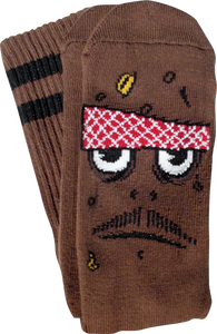 TOY MACHINE POO POO HEAD CREW SOCKS-BROWN 1 pair