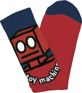 TOY MACHINE ROBOT CREW SOCKS RED 1pr