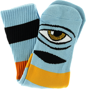 TOY MACHINE SECT EYE BIG STRIPE CREW SOCKS-BABY BLUE 1pr