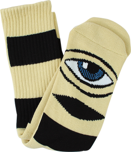 TOY MACHINE SECT EYE BIG STRIPE CREW SOCKS-CAMEL 1pr