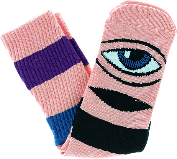 e60d2341b37f4 TOY MACHINE SECT EYE BIG STRIPE CREW SOCKS-PINK 1pr – Edge Boardshop