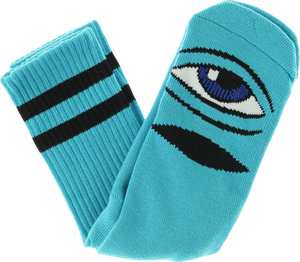TOY MACHINE SECT EYE III CREW SOCKS-AQUA 1 pair