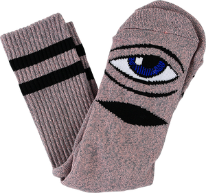 TOY MACHINE SECT EYE HEATHER CREW SOCKS-PINK 1pr