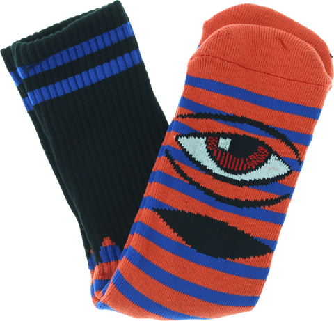 TOY MACHINE SECT EYE STRIPE CREW SOCKS-RED/BLU/BLK 1pr