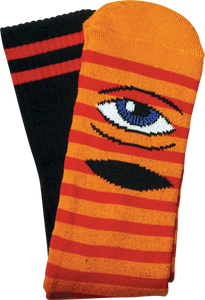 TOY MACHINE SECT EYE STRIPE CREW SOCKS-ORG/RED/BLK 1 pair