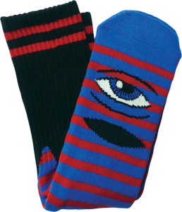 TOY MACHINE SECT EYE STRIPE CREW SOCKS-BLUE/RED/BLK 1 pair
