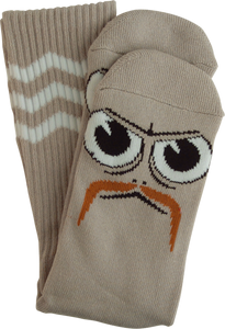 TOY MACHINE TURTLE BOY STACHE CREW SOCKS GREY 1 pair