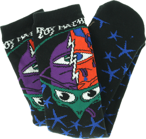 TOY MACHINE TURTLE HEAD CREW SOCKS-BLACK 1 pair