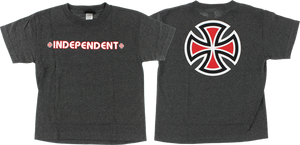 INDEPENDENT BAR CROSS YTH SS L-CHARCOAL HEATHER
