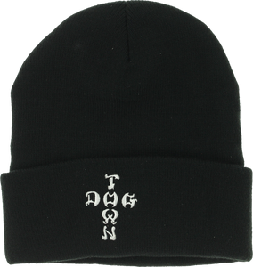 DOGTOWN EMBROIDERED CROSS LETTERS BEANIE BLACK