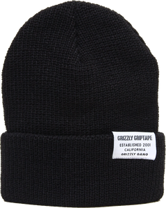 GRIZZLY CERTIFIED FOLD BEANIE BLACK