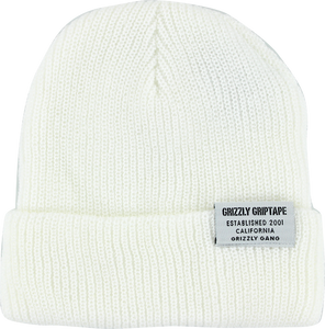 GRIZZLY CERTIFIED FOLD BEANIE WHT