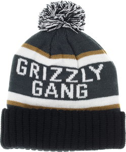 GRIZZLY FANATIC POM BEANIE CHARCOAL/WHT/GOLD/BLK