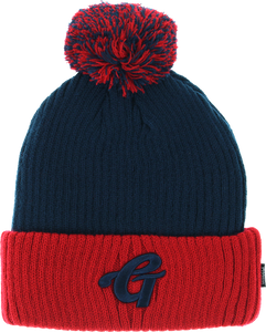 GRIZZLY HIGH GRADE POM BEANIE NAVY/RED