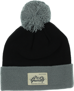 GRIZZLY THE ROCKIES POM BEANIE BLACK/GREY