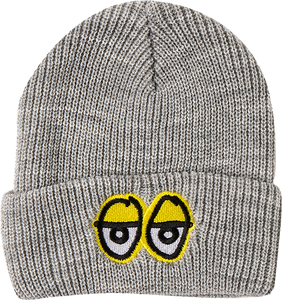 KROOKED SKATEBOARDS EYES EMBLEM BEANIE HEATHER GREY/YEL