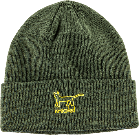 KROOKED SKATEBOARDS KAT BEANIE DARK ARMY/YEL