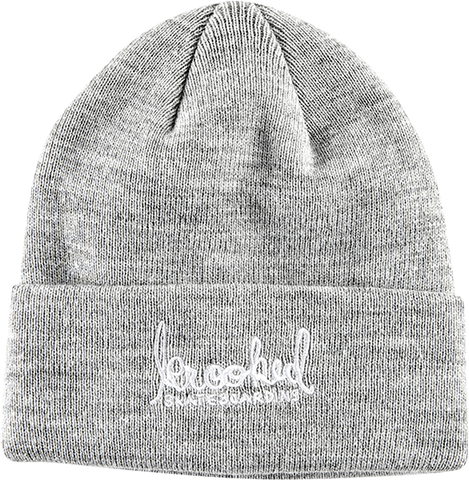 KROOKED SKATEBOARDS SIGNATURE EMBLEM BEANIE HEATHER GREY/WHT