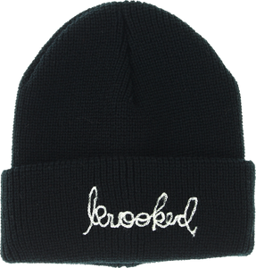 KROOKED SKATEBOARDS SIGNATURE EMBLEM CUFF BEANIE BLACK