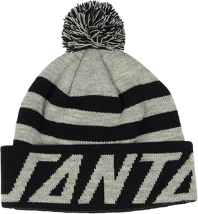 SC STRIP PUFF POM BEANIE GREY/BLK