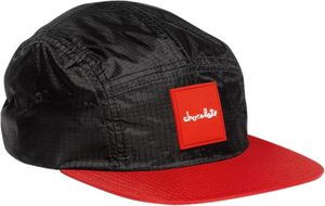 CHOC RED SQUARE 5 PANEL HAT ADJ-BLACK
