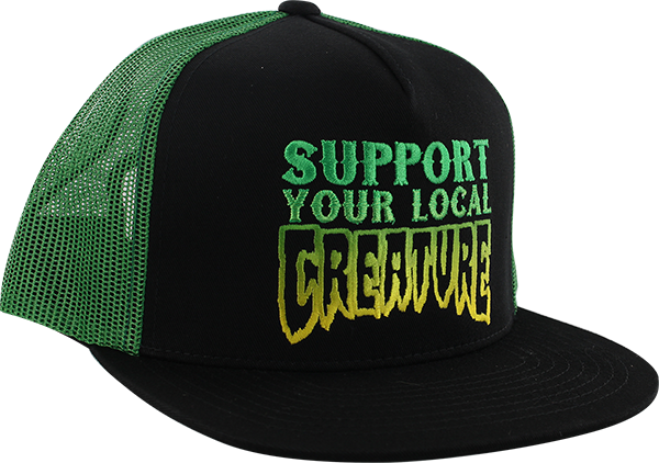 a0b00cac291 CREATURE SUPPORT MESH HAT ADJ-BLACK KELLY GRN – Edge Boardshop