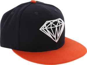 DIAMOND SUPPLY CO. BRILLIANT HAT 7-1/8 NAVY/ORG